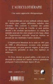 L'Auriculotherapie - 4ème de couverture - Format classique