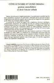 Côte d'Ivoire et zone Ohada ; gestion immobilière et droit foncier urbain - 4ème de couverture - Format classique