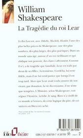 La Tragedie Du Roi Lear - 4ème de couverture - Format classique