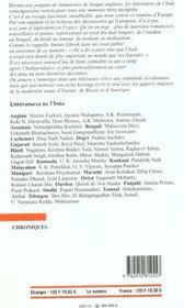 Revue Europe N.865 ; Littératures De L'Inde - 4ème de couverture - Format classique