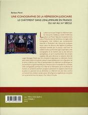 Une Iconographie De La Repression Judiciaire ; Le Chatimnet Dans L'Enluminure En France Du Xiii Au Xv Siecle - 4ème de couverture - Format classique