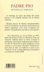 Pensees Et Paroles De Padre Pio - 4ème de couverture - Format classique