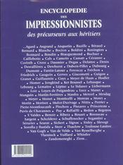 Encyclopedie Des Impressionnistes - 4ème de couverture - Format classique