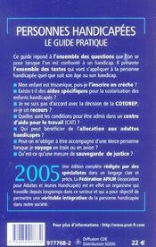 Personnes Handicapees, Le Guide Pratique - 4ème de couverture - Format classique