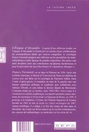 L'énigme d'Alexandre ; recontre de cultures et progrès de la civilisation - 4ème de couverture - Format classique