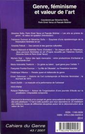 Genre, féminisme et valeur de l'art - 4ème de couverture - Format classique