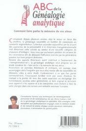 Abc de la généalogie analytique ; comment faire parler la mémoire de vos aïeux - 4ème de couverture - Format classique