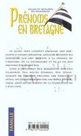 Prenoms Bretons - 4ème de couverture - Format classique