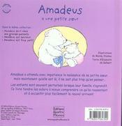 Amadeus a une petite soeur - 4ème de couverture - Format classique