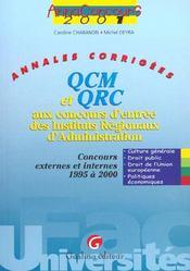Anna.Concours Qcm Et Qrc Concours D'Entree - Intérieur - Format classique
