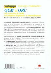 Anna.Concours Qcm Et Qrc Concours D'Entree - 4ème de couverture - Format classique