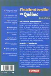 S'installer et travailler au Québec. des centaines d'adresses et de conseils pour préparer son départ, trouver un emploi... - 4ème de couverture - Format classique