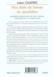 Etats De Transe Au Quotidien (Nos) - 4ème de couverture - Format classique