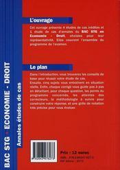 BAC STG ; économie-droit - 4ème de couverture - Format classique