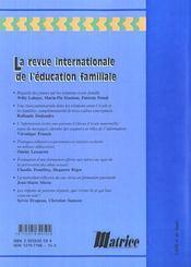 La Revue Internationale De L'Education Familiale ; Familles Et Ecole - 4ème de couverture - Format classique