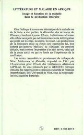 Litterature Et Maladie En Afrique ; Image Et Fonction De La Maladie Dans La Production Litteraire - 4ème de couverture - Format classique