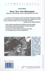 Pour Lire Joe Bousquet - 4ème de couverture - Format classique