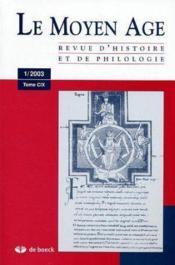 Revue Le Moyen Age T.109.1 - Couverture - Format classique
