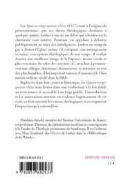 Les Quatre-Vingt-Quinze Theses ; 1517 - 4ème de couverture - Format classique