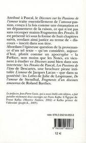 Blaise Pascal ; discours sur les passions de l'amour - 4ème de couverture - Format classique