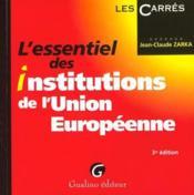 Essentiel institutions union europeenne - Couverture - Format classique