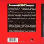 Essentiel institutions union europeenne - 4ème de couverture - Format classique