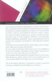 Les nanotechnologies ; espoir, menace ou mirage ? - 4ème de couverture - Format classique