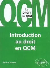 Introduction Au Droit En Qcm - Intérieur - Format classique
