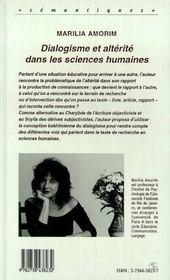 Dialogisme Et Alterite Dans Les Sciences Humaines - 4ème de couverture - Format classique