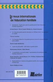 Revue internationale d'education familiale ; les grands-parents - 4ème de couverture - Format classique