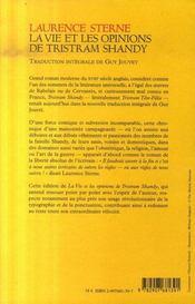 La vie et les opinions de Tristram Shandy ; intégrale - 4ème de couverture - Format classique