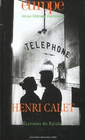 Revue Europe N.883 ; Henri Calet ; Novembre-Décembre 2002 - Intérieur - Format classique