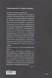 3 Essais Sur La Poesie Litterale - 4ème de couverture - Format classique