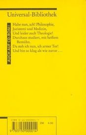 Faust ; der Tragödie ; erster Teil - 4ème de couverture - Format classique