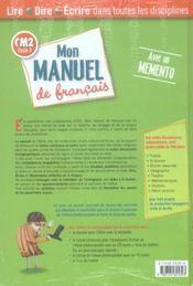 Cm2; Mon Manuel De Francais - 4ème de couverture - Format classique