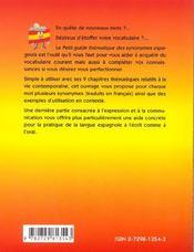 Petit Guide Thematique Des Synonymes Espagnols - 4ème de couverture - Format classique