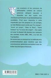 Le Sexe Des Anges Les Sujets Infaisables Des Concours Philosophie/Culture Generale - 4ème de couverture - Format classique