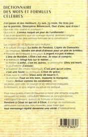 Le Dictionnaire Des Mots Et Formules Celebres ; 10e Edition Reliee - 4ème de couverture - Format classique