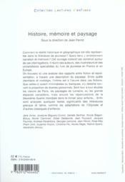 Histoire Memoire Et Paysage - 4ème de couverture - Format classique