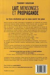 Lait, mensonges et propagande - 4ème de couverture - Format classique