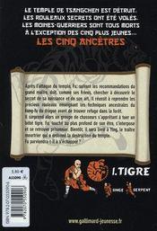 Les cinq ancêtres t.1 ; tigre - 4ème de couverture - Format classique