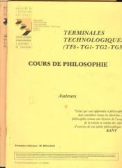 COURS DE PHILOSOPHIE TERMINALES TECHNOLOGIQUES (TF8, TG1,TG2, TG3). AUTEURS et NOTIONS EN 2 BROCHURES. - Couverture - Format classique