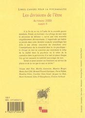 Libres Cahiers Pour La Psychanalyse N 4 2001 Les Divisions De L'Etre - 4ème de couverture - Format classique