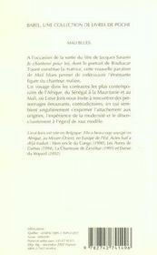 Mali Blues Je Chanterai Pour Toi - 4ème de couverture - Format classique