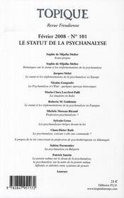 Revue Topique T.101 ; Le Statut De La Psychanalyse - 4ème de couverture - Format classique