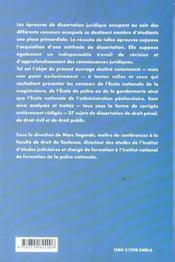 La Dissertation De Droit Penal Droit Civil Et Droit Public Enm Lieutenant Et Commissaire De Police - 4ème de couverture - Format classique