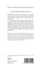 Contes Populaires De Palestine Babel 564 - 4ème de couverture - Format classique