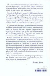 Prof De Droite ? Le Crepuscule Scolaire Et Ideologique De La Gauche - 4ème de couverture - Format classique
