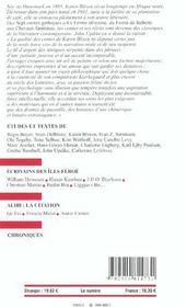 Europe Karen Blixen 887 Mars 2003 - 4ème de couverture - Format classique