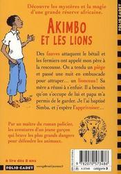 Akimbo et les lions - 4ème de couverture - Format classique